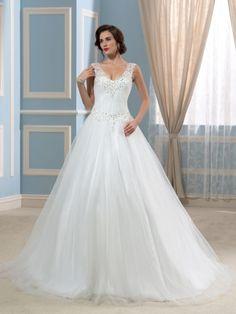 V-Neck Ball Gown Appliques Beading Tulle Wedding Dress & elegant Wedding Dresses