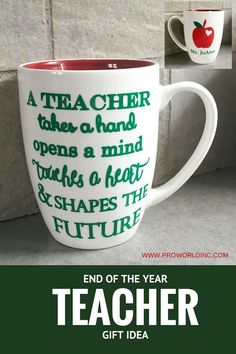 end of the year teacher gift idea - make a coffee mug with your Silhouette Machine. It only takes a minutes!