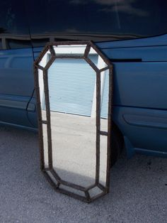 Large Faux  Bamboo Hollywood Regency hanging Mirror