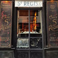 Looking through night windows of the Café Saint-Régis - Paris