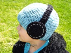 Kid's Headphone Beanie Crochet Hat Photo Prop by looptyloodesigns