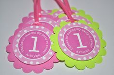 12 Birthday Party Favor Tags - Pink, Lime Green and White Polkadots. via Etsy.