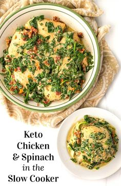 This keto slow cooker chicken with creamy tomato & spinach sauce is full of flavor and an easy weeknight dinner. The rich and creamy sauce is perfect with the fresh spinach and sun-dried tomatoes and 1 serving of this recipe has just 3.3g net carbs! Keto Crockpot Recipes, Low Carb Chicken Recipes, Low Carb Dinner Recipes, Slow Cooker Recipes, Healthy Recipes, Keto Chicken, Crockpot Meals, Keto Dinner, Delicious Recipes