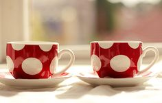 love that gorgeous color & polka dots! #teacups