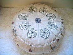 Leaf Mandala Meditation Zafu Cushion w. Buckwheat Hulls. Repurposed Linen. Made by a Small Business in the USA.