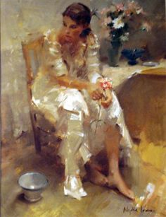 """""""Thinking of You"""" - Nydia Lozano, b. 1947 {contemporary figurative female seated woman texture painting}"""
