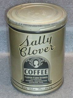 scarce old Sally Clover 1lb screw top coffee tin