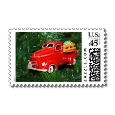 Red Truck #Christmas Ornament  Postage Stamp by #ILoveXmas shipping to Gilroy, CA -  #HoHoHo