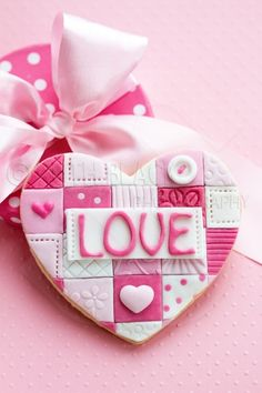 Patchwork fondant Valentine cookie - by Ruth Black