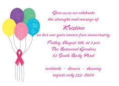 """Celebration Balloons Party Invitation. 6-3/4"""" x 4-7/8"""". A portion of the proceeds from the sale of this invitation is donated to help support cancer patient care programs at The Roswell Park Cancer Institute."""