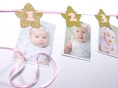 Photo Banner, 1-12 Months Banner, Gold and Pink First Birthday, Twinkle Star…