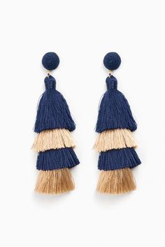 Suzanna Dai Navy Luella Overlay Tassel Earrings