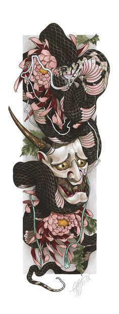 Japanese Tattoos 615445105315732814 - CWF – Hannya Snake Limited Edition (Drucke) – diy tattoo images – CWF Hannya Snake Limited Edition (Drucke) Source by Hannya Maske Tattoo, Oni Tattoo, Hanya Tattoo, Maori Tattoos, Asian Tattoos, Irezumi Tattoos, Body Art Tattoos, Tattoo Arm, Tattoo Fish