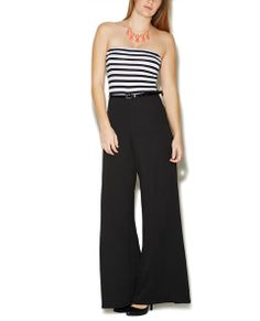 Belted Striped Tube Jumpsuit | Wet Seal