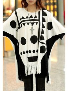 Fringe Skull Batwing T-Shirt