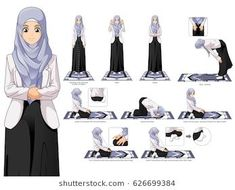 Complete Set of Muslim Woman Prayer, Standing, Bowing, Sitting, and Prostration Position Guide Step by Step Vector Illustration - Buy this stock vector and explore similar vectors at Adobe Stock Islamic Prayer, Islamic Qoutes, Muslim Quotes, Islamic Teachings, Islamic Art, Islam Beliefs, Islam Hadith, Islam Quran, Alhamdulillah