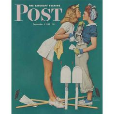 """""""Double Trouble for Willie Gillis"""" 1942 Saturday Evening Post Cover by Norman Rockwell, viewed at the Norman Rockwell Museum - Stockbridge, Massachusetts Norman Rockwell Prints, Norman Rockwell Paintings, Vintage Lesbian, Lesbian Art, Art Postal, Saturday Evening Post, Vintage Magazines, American Artists, American Realism"""