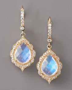 Moonstone & Diamond Drop Earrings by Penny Preville at Neiman Marcus.