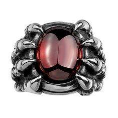 Vintage Punk Stainless Steel Evil Eye Ruby Band Ring For Men
