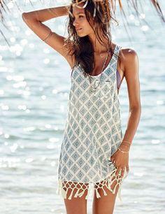 ca8e78266e Boho-Style Fringe Chiffon Backless Lace Crochet Beach Cover Up S-XL-Loluxe