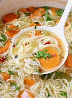 Vegan Vegetable Noodle Soup Recipe • Veggie Society Soup Recipes, Whole Food Recipes, Vegetarian Recipes, Cooking Recipes, Healthy Recipes, Vegan Soups, Vegan Noodle Soup, Vegetable Noodle Soup, Angel Hair Noodles
