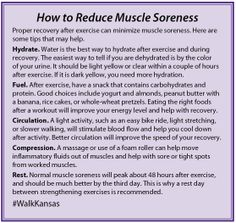 Follow these tips to reduce muscle soreness — it will help you keep moving! Color Of Urine, Kansas State University, Sore Muscles, Physical Activities, Improve Yourself, Muscle Soreness, Life Hacks, Exercise, Diet