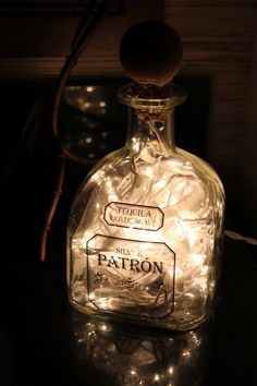 upcycled patron bottle turned into a night light - how to on www.thewoodenbee.com