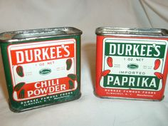 two Durkee's Spice Tins, Durkee's Green label Chili Powder, Red label Paprika #Durkees