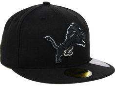 Detroit Lions New Era NFL Black And White 59FIFTY Cap Hats New Era Cap 4e8f8567caa3