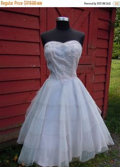 On Sale 1950's Tulle Dress  Wedding Couture Sweetheart