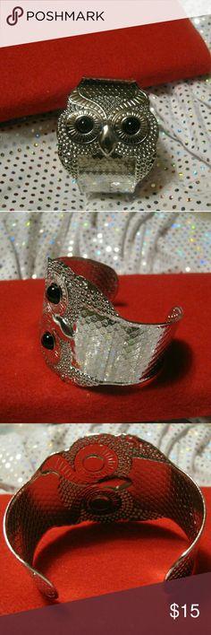 Bracelet Owl cuff, 52mm wide, Jewelry Bracelets