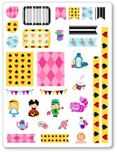 Alice in Wonderland Decorating Kit / Weekly Spread Planner Stickers for Erin…