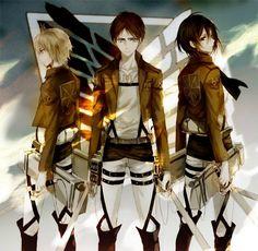 Armin, Eren, Mikasa