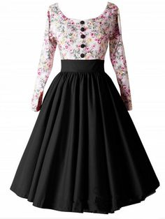 Scoop Neck Florals Tea Dress With Buttons