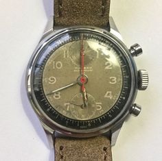 Hialeah Manual Wind Chronograph Watch Brown Face  Leather Band      GR0806 #Hialeah #Casual