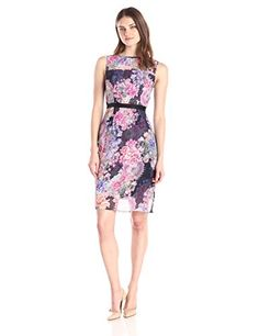 Adrianna Papell Womens Sleeveless Printed Illusion Sheath Dress Plum Multi 16 ** Click image for more details.