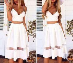 Stylish white stitching lace dress #ER110305