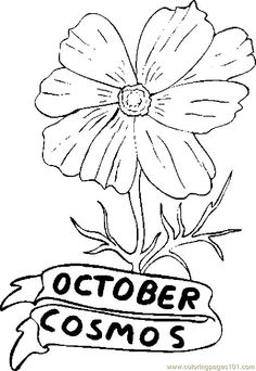 flower Page Printable Coloring Sheets | ... printable coloring page 10 October Cosmos (Natural World > Flowers