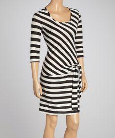 Black & White Stripe Ruched Dress