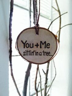 Personalized Wooden Tree Slice Christmas Ornament / Gift Tag Rustic Country Cottage Farmhouse Inspired