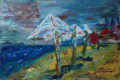 Sea autumn umbrellas - Tetyana Snezhyk painting