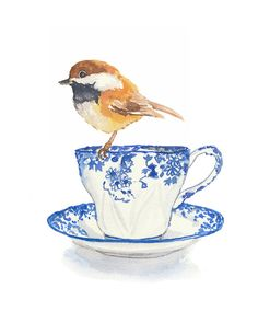 Teacup Watercolor Print, Chickadee Painting, Wall Art, 5x7 Painting Print