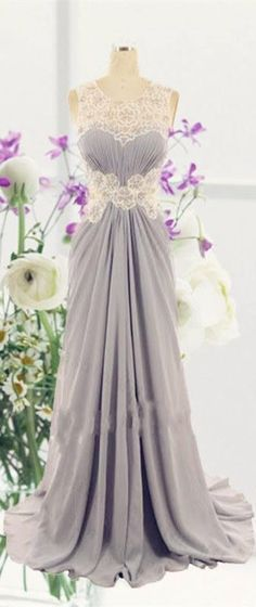 Cute grey chiffon modest prom dress with lace appliques, long evening dress for teens
