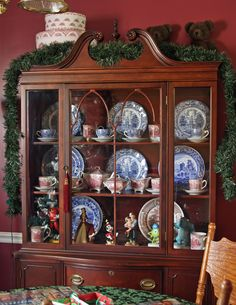 filled with my favorite china and wdcc disney figures. Small Dining Area, Christmas Presents, China Cabinet, 1940s, Interiors, House, Home Decor, Cabinets, Xmas Gifts