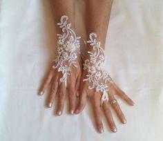 Wedding gloves adorned pearls Ivory or cream bride by GlovesByJana