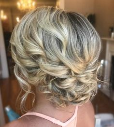 Delicate Curly Updo for Medium Hair #weddinghairstyles