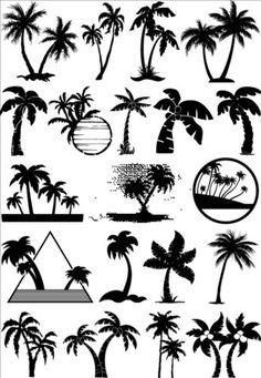 Palm tree silhouetter vector 01 - GooLoc