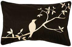 white bird pillow cover