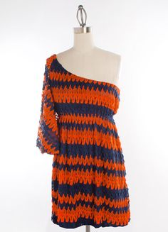 Orange and Navy Crochet One Shoulder Dress with Butterfly Sleeves