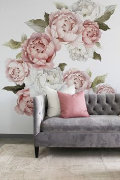 Peony wall decal floral wall decals watercolor peony large self adhesive wallpaper floral wallpaper mural peel and stick wall decals – Artofit Tufted Couch, Flower Wall Decals, Pink Pillows, Throw Pillows, Vinyl Wall Stickers, Wall Vinyl, Window Stickers, Floral Wall, Textured Walls